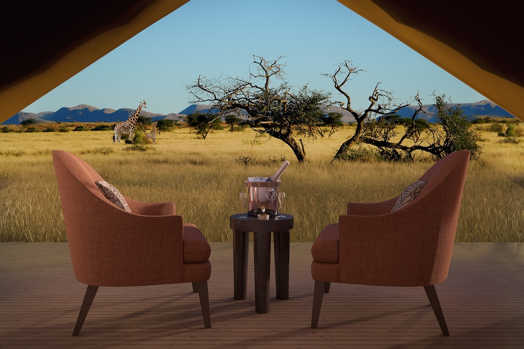 luxury outdoor chairs and table with safari background
