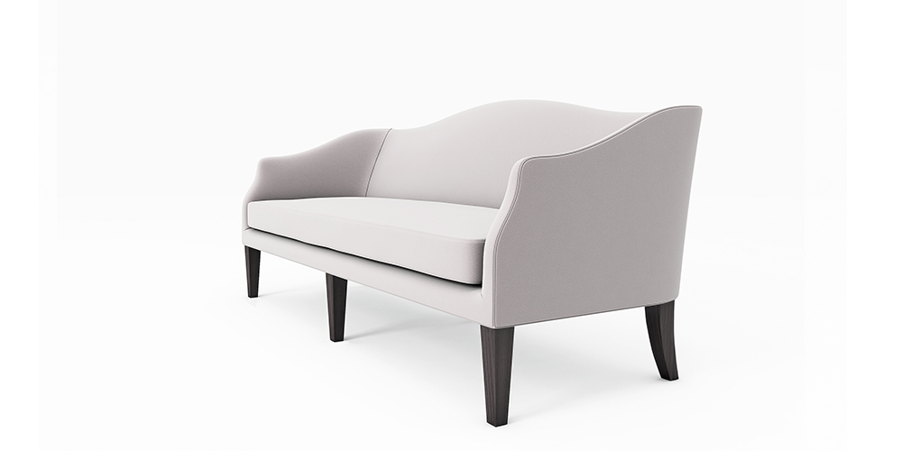 Outdoor sofa with curved arms
