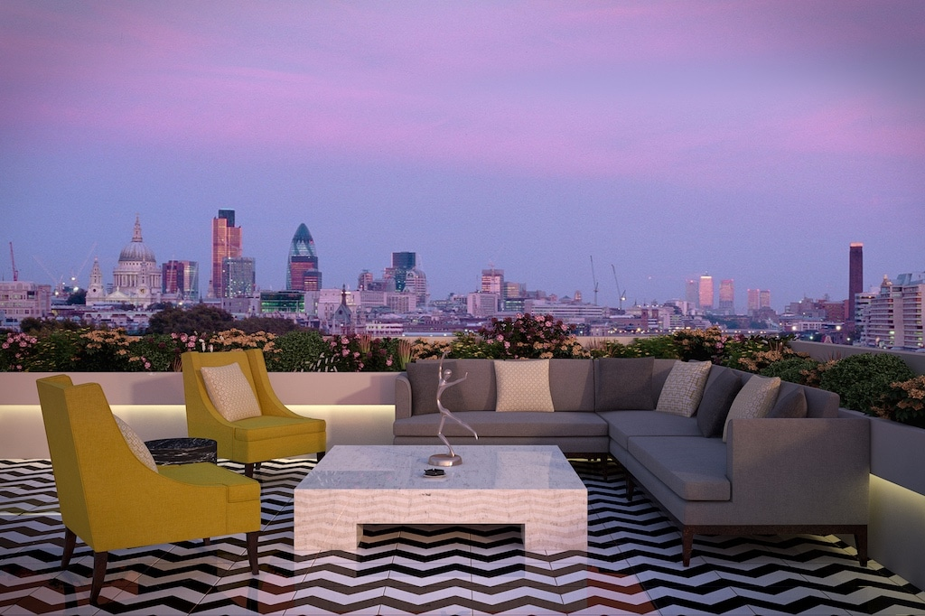 luxury outdoor furniture on london urban background
