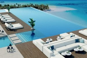 luxury outdoor furniture by infinity pool