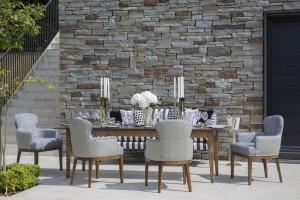 patio with luxury outdoor chairs and table