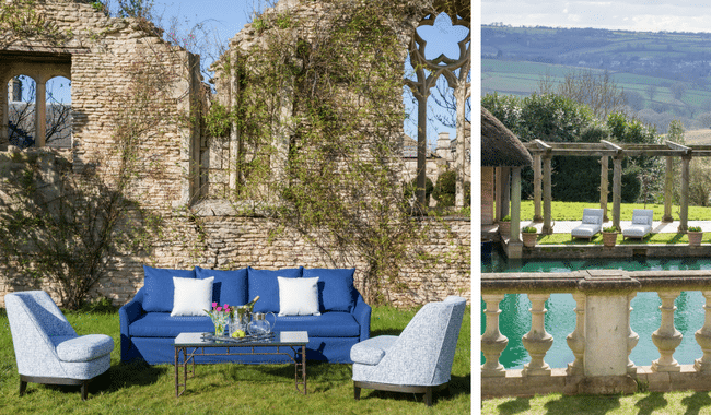luxury outdoor sofa and chairs by historic building