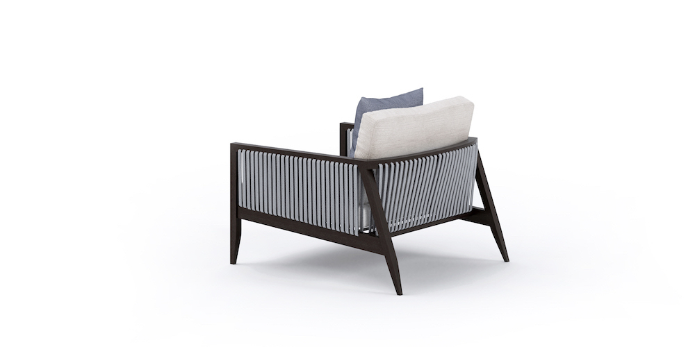 outdoor wood and rope armchair back
