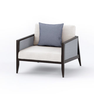 Outdoor wood and rope armchair