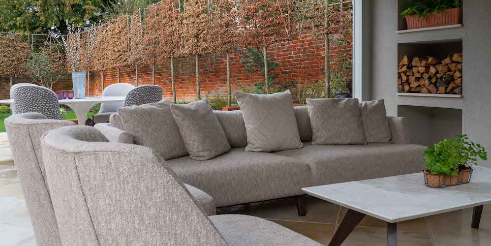 Outdoor sofa, outdoor armchairs, outdoor marble table