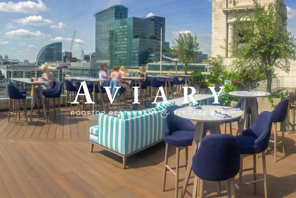 outdoor chairs and sofas on roof top restaurant london