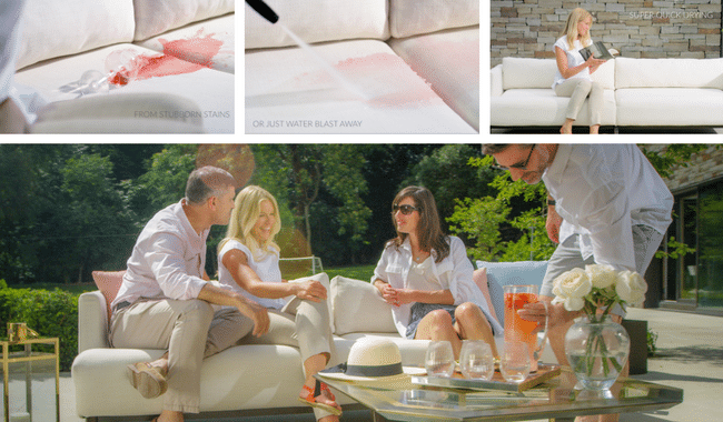 people sitting on luxury outdoor sofa in summer