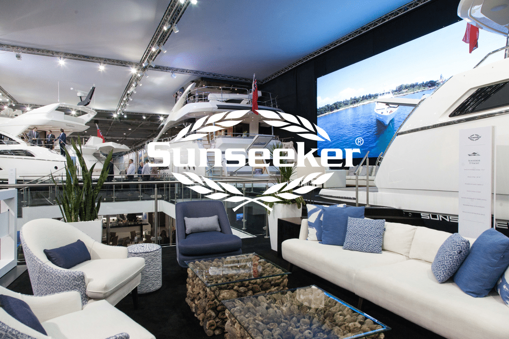 luxury outdoor sofa and chairs at sunseeker london boat show