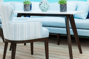 lusso table and chair on wooden floor