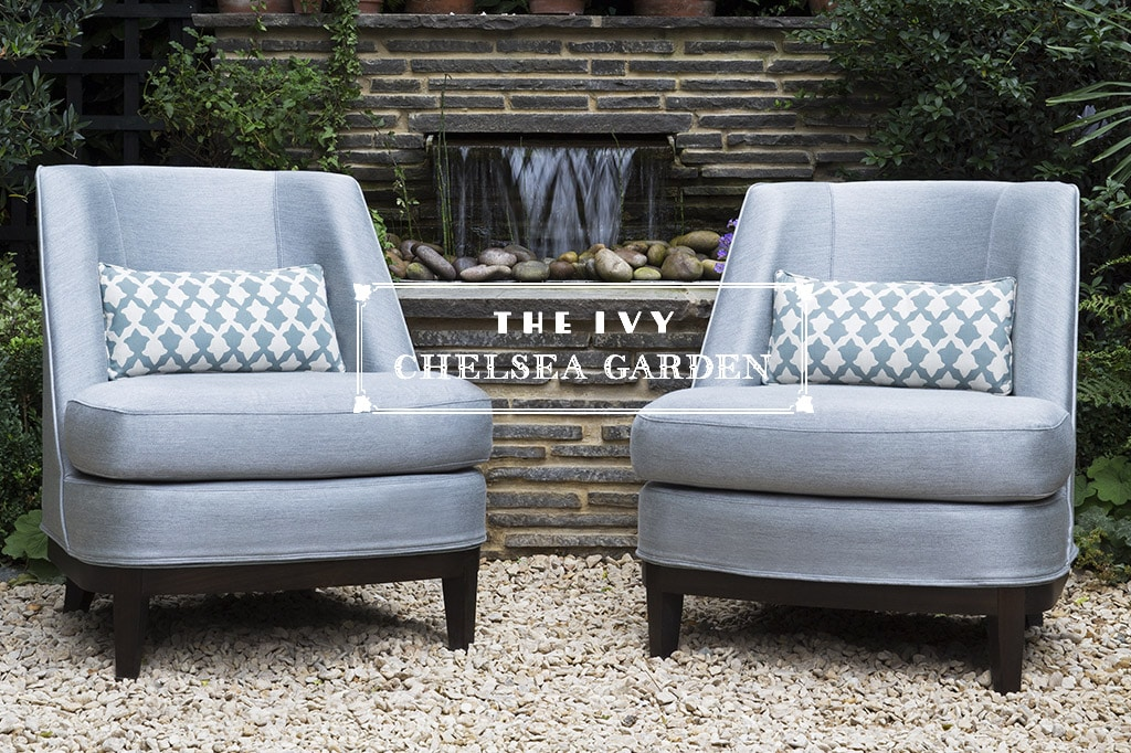 2 luxury outdoor chairs at the ivy chelsea garden london